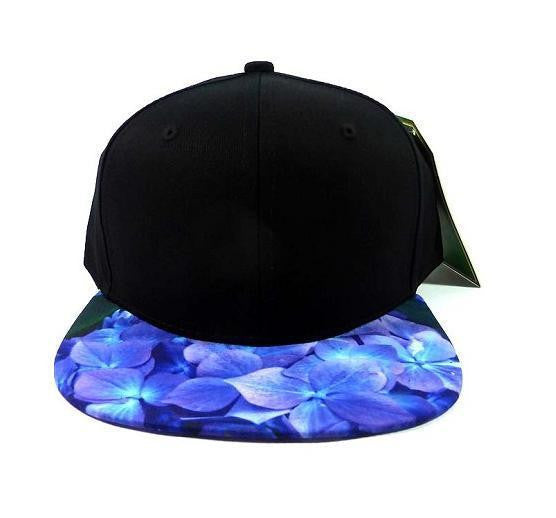 Custom Embroidery Black and Blue Floral Hydrangea Snapback Hat