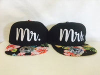 Mr And Mrs Hawaiian Print SnapBack Hat Set Wedding Gift Anniversary Newlyweds