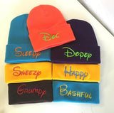 Seven Dwarfs Hats Custom Embroidery Beanie Skull Cap Knit Knitted Matching Seven
