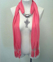 Coral Cross Pendant Scarf, Soft Wrap, Shawl, Classy Cover up, Bling Scarves