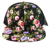 Custom Embroidery Floral Black Hat Snapback Flower Rose Pink Purple White