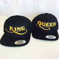 King and Queen Gold Snapback Hat Black Set of Both Hats One Size