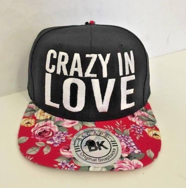Crazy in Love Black Embroidery Adjustable Hat One Size Red Floral