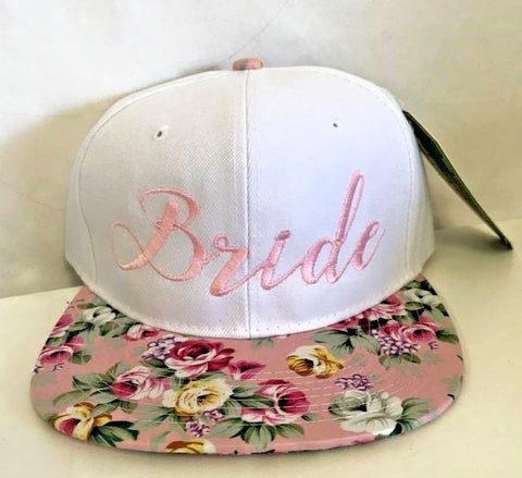 Bride White Hat Pink Floral Embroidery Snapback Hat One Size