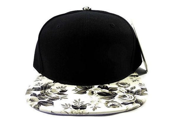 Custom Embroidery Floral Black and White Hat Snapback