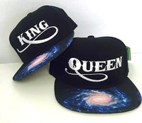 King and Queen Milky Way Galaxy Strapback Hat Black Set of Both Snapback Style