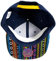 Aztec Print Snapback Hat Ikat Flat Bill Navy Tribal w/ Black & Blue Adjustable