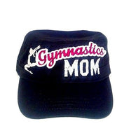 Gymnastics MOM and Black Embroidery Adjustable Hat One Size with Bling