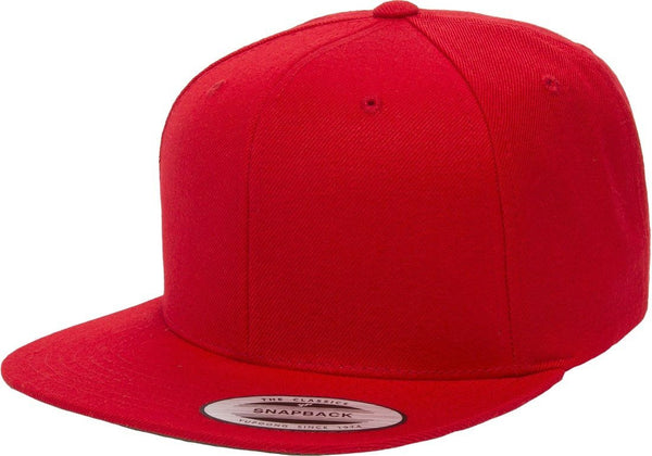 Red Yupoong Premium Classic Snapback Hat 6 Panel Flat bill Adjustable