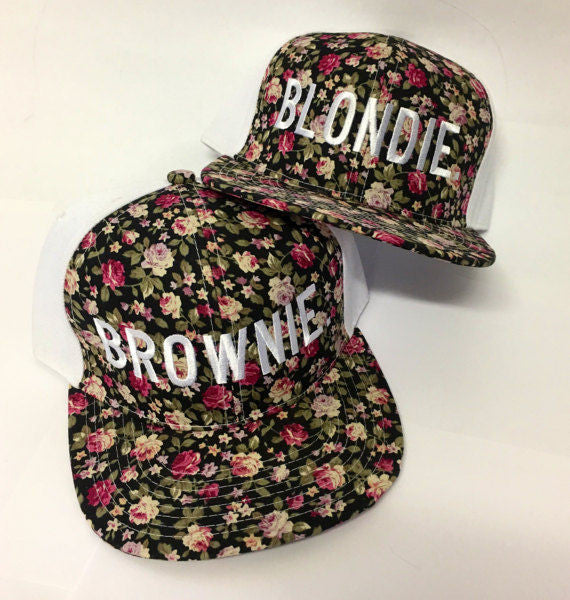 Blonde And Brunette Blondie And Brownie Snapback Hat Black Pink Floral Daisy