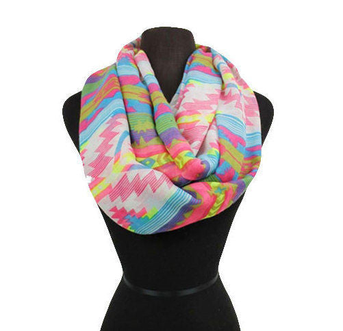 Custom Aztec Scarf, Wrap, Infinity, Pattern Infinity Scarves Yellow Tan