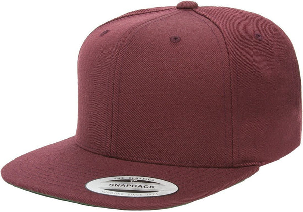 Burgundy Maroon Yupoong Premium Classic Snapback Hat 6Panel Flat bill Adjustable