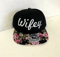 Wifey Pink and Black Rose Floral White Embroidery Snapback Hat One Size