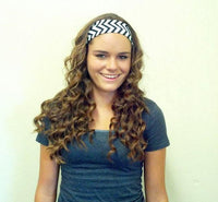 Chevron Stripe White and Black Headband Turban Wrap Wide Womens Head band