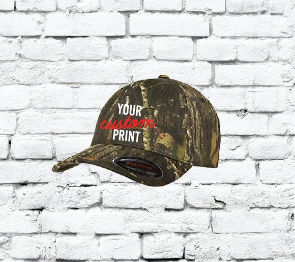 Flexfit Fitted Camo Baseball Cap/ Custom Embroidery / Your Custom Print / Mossy Oak Breakup Fitted Hat - 6999