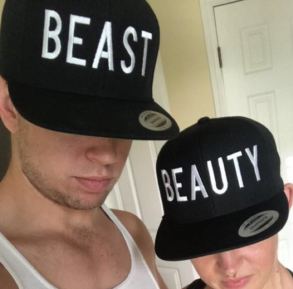 Beauty And Beast Snapback Hat Black and White One Size