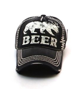 Beer Funny Black and White Thread Distressed Light Summer Baseball Ball Cap Hat