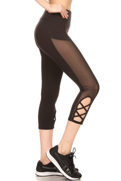 Black Cutout Capri Womens Leggings Mesh Athletic Active wear Criss Cross