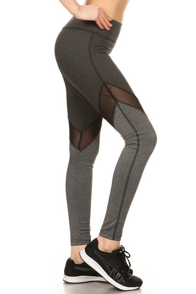 Black & Grey Cutout Womens Leggings Mesh Athletic Active wear Criss Cross