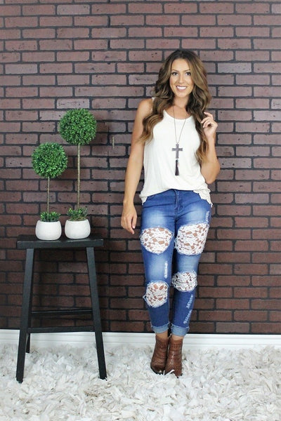 Women's Ladies Distressed Ripped White Lace Inserts Skinny Denim Jeans Country