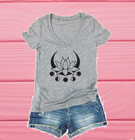 Lotus Moon Phases Tee- Cute Graphic Shirts- V Neck Shirt- Womens T-Shirt