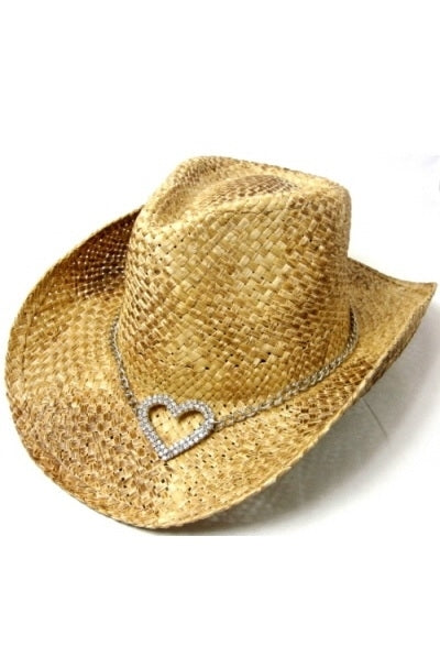 Tan Natural Bling Heart Hat Cowboy Cowgirl Style Hat Rhinestone Stud Straw Western