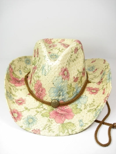 Pink and Blue Floral Hat Cowboy Cowgirl Style Hat Bronze Stud Straw Western Flower Foilage