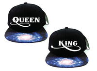 King Snapback and Queen Galaxy Snapback King and Queen Strapback Couple Snapback Couple hat king hat queen hat