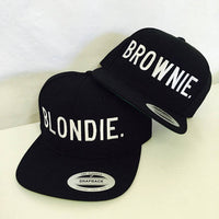 Blondie and Brownie Snapback Hats Block Lettering Blonde and Brunette Hats Best Friend Snapbacks Flatbill Hats