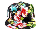 Custom Hawaiian Snapback Solid Floral Hat Hawaii Beach or Vacation Theme Cap Your Custom Text or Logo