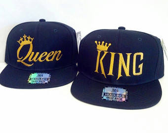 Gold King Snapback and Queen Snapback King and Queen Snapback Couple Snapback Crown Couple hat king hat queen hat