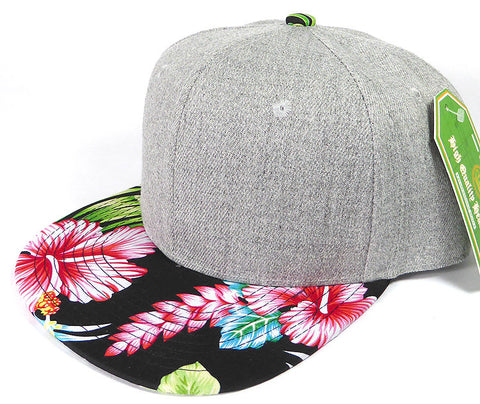 Custom Embroidery Snapback Hawaiian Floral Brim Heather Grey Hat Personalized Snapback Grey Cap with Multicolor Brim