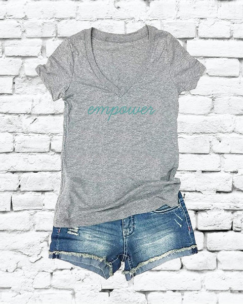 empower Print Women's V-Neck T-shirt Custom Shirt Custom Personalized Fitted Tee