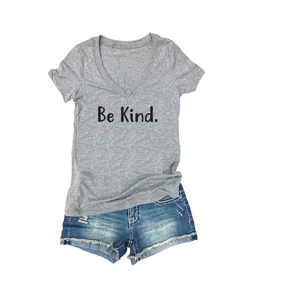 Be Kind Print  Women's V-Neck T-shirt Custom Shirt Custom Fitted Tee