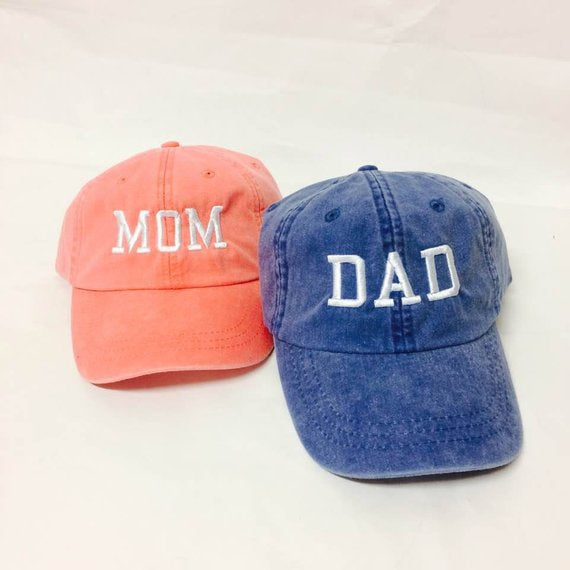 e0675627b8003 Mom   Dad Unstructured Dad Hat Gift or Baby Announcement Coral Royal and White  or Your