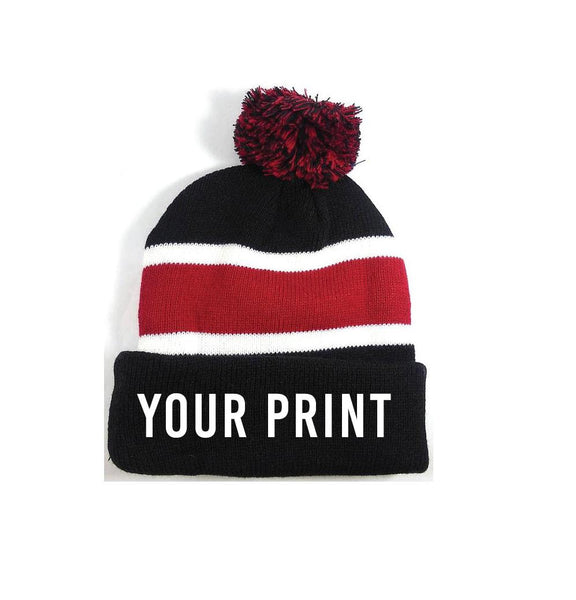 Personalized Pom Pom Beanies Throwback Beanie Skull Cap Custom Red and Black Stripe Knit Hats