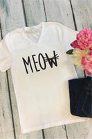 Meow T-shirt Kitty Cat Tee Women's V-Neck T-shirt Relaxed Fit Tee