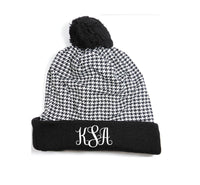 Custom Pom Pom Beanies Houndstooth Knit Hats Monogram Hats Custom Embroidery Hats