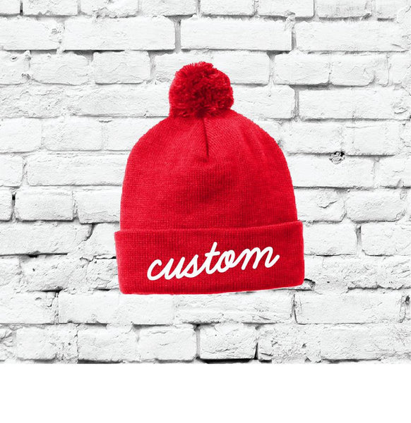 Red Pom Pom Beanie Custom Knit Hats Throwback Winter Hat Personalized Hats