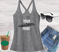 Custom Print Women's T- back Racerback Tank Custom Tank Top Custom Personalized Relaxed Tank