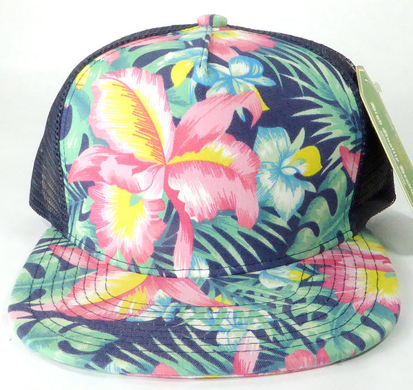 Hawaiian Trucker Hat Custom Embroidery Blue Floral Your Custom Print Mesh Back Trucker Hat
