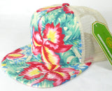 Hawaiian Trucker Hat Custom Embroidery Green Floral Your Custom Print Mesh Back Trucker Hat