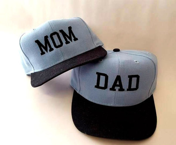 Mom and Dad Snapbacks Custom Print Snapbacks Baby Announcement Couple Hats Parents
