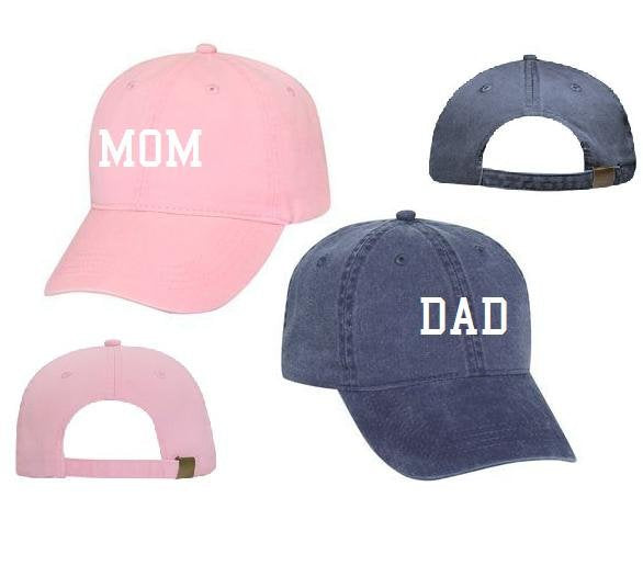 2d543c65e5764 Mom   Dad Unstructured Dad Hat Gift or Baby Announcement Light Pink Navy  and White or