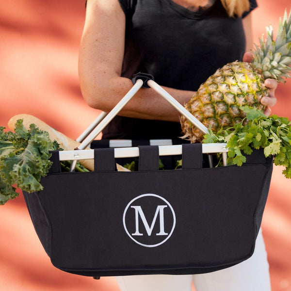 Custom Monogrammed Market Tote Black Shopping Bag Monogram Personalized Grocery Bag
