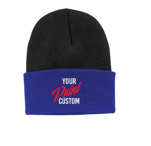 Custom Embroidery Beanie Knit Hat Two Tone Personalized Cuff Beanie Unisex Fleece Beanie