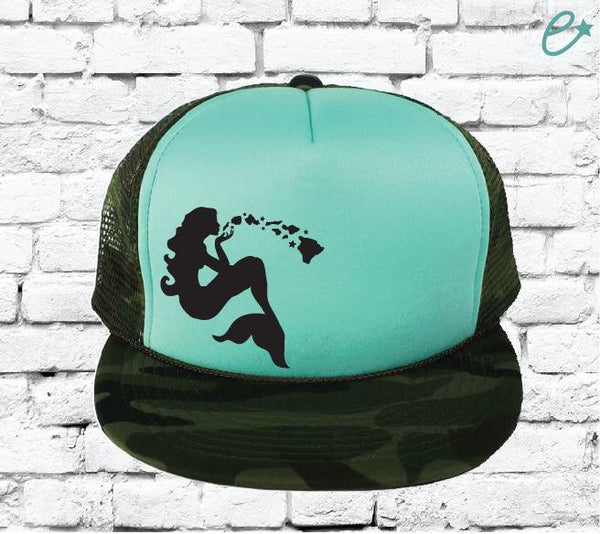 Mermaid Hawaiian Islands Camo Trucker Hats Mesh Back Hat Snapback Party Hats Girls Weekend Guys Weekend River Trip