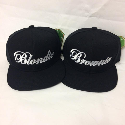 2b5e49f17 Blondie and Brownie Snapback Hats Cursive Lettering Blonde and ...