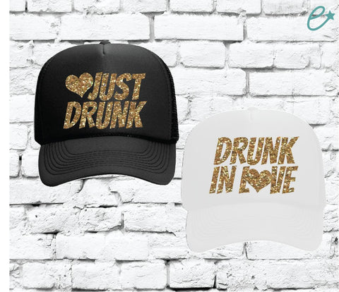 3cbe941e Drunk in Love and Just Drunk Trucker Hats Bridal Party Hats Mesh Back Hats  with Snapback