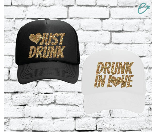 Drunk in Love and Just Drunk Trucker Hats Bridal Party Hats Mesh Back Hats with Snapback